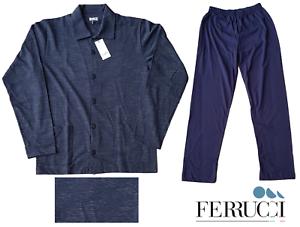 Adaptable Ferrucci. Pigiama Lungo, Uomo, Mod. Aperto Con Collo. 100% Cotone. 3501-7 Laos.