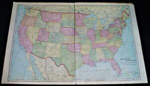 Crams Atlas Map Page Plate Of The United States 1908 Vintage Ebay - Us-map-1908