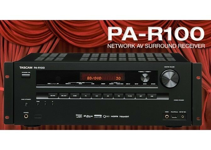 TASCAM PA-R100 Network AV 5.2 - 3D 4K Receiver Pre-amplifier S N  0040051 -NEW