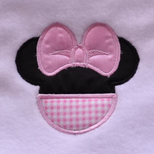 DISNEY MINNIE MOUSE  PERSONALISED APPLIQUE BABY BLANKET  EMBROIDERED NAME// D.O.B