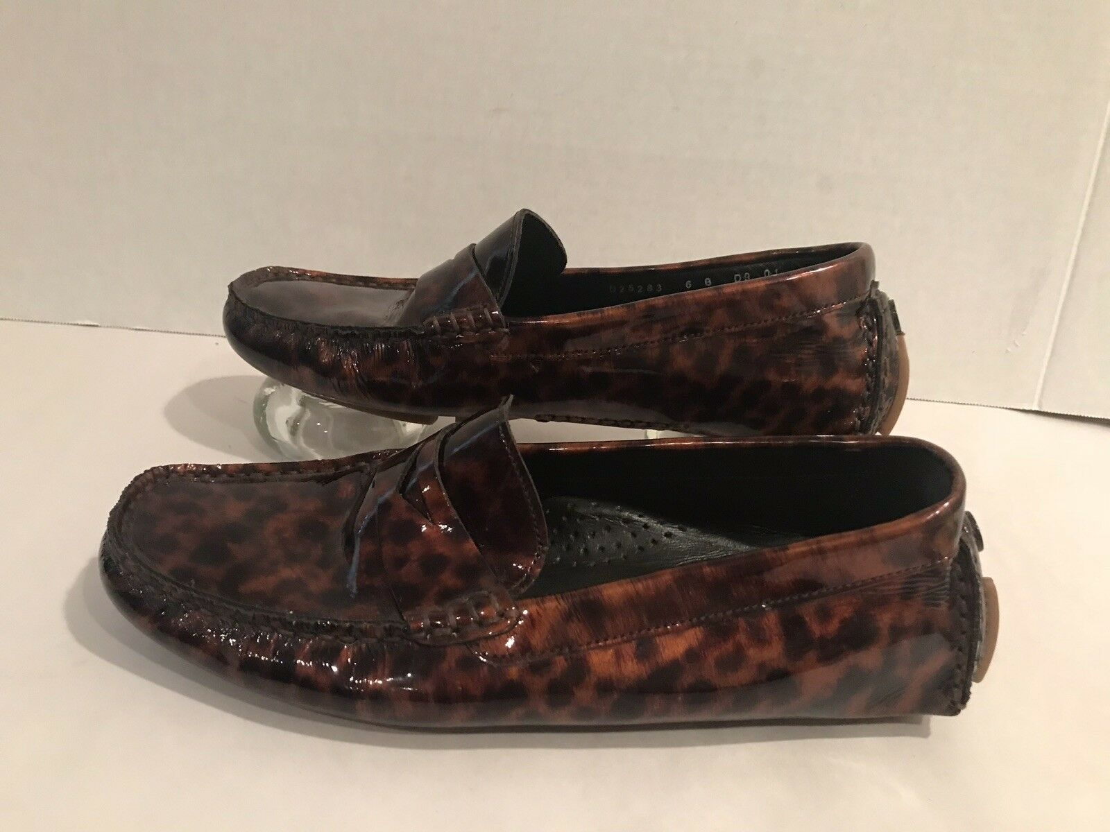 Women's Cole Haan D25283 Size 6B Patent Leather Cheetah Print Loafers MocToe