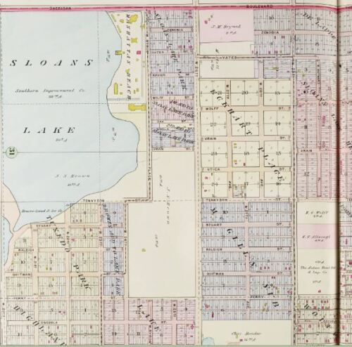 1905 BAIST COPY ATLAS MAP G.W DENVER COLORADO MANHATTAN BEACH SLOAN/'S LAKE