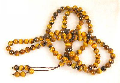 Natural 108 Tiger Eyes Gems Handmade Prayer Beads Necklace