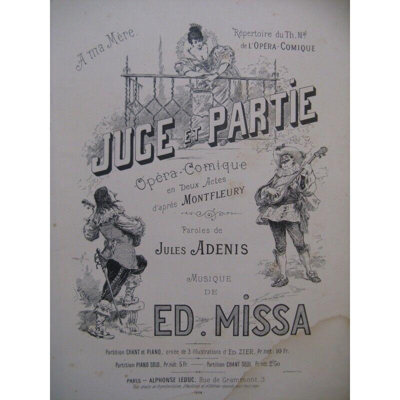 MISSA Edmond Juge et Partie Opéra Chant Piano 1886 partition sheet music score