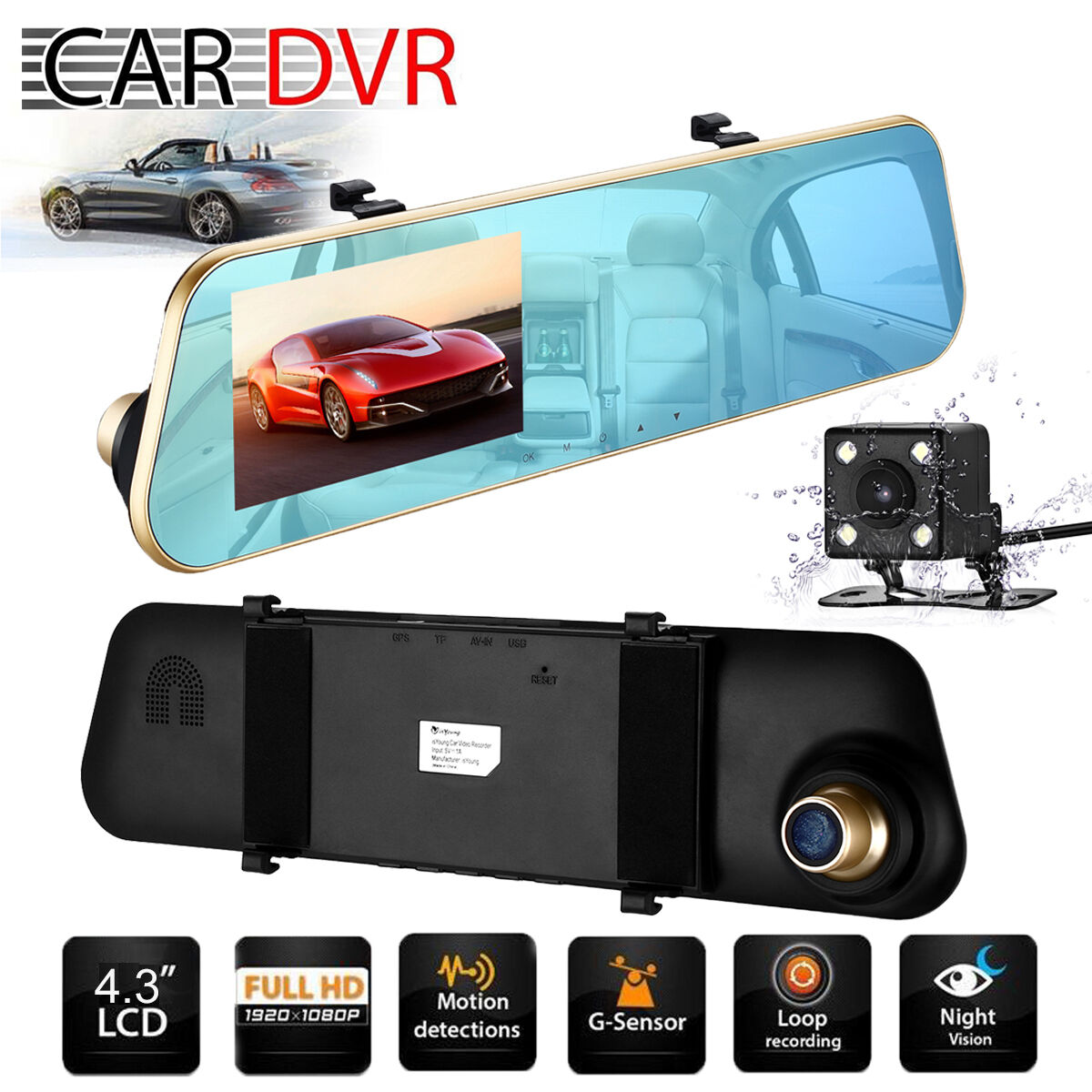"s-l1600 Dual Lens HD 1080P 4.3"" Car DVR Dash Cam Rearview Mirror Camera Video Recorder"