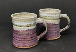 2-Purple-Blue-Gray-Hand-Thrown-Coffee-Mug-Cups-Pottery-Signed-Chris-Strecker