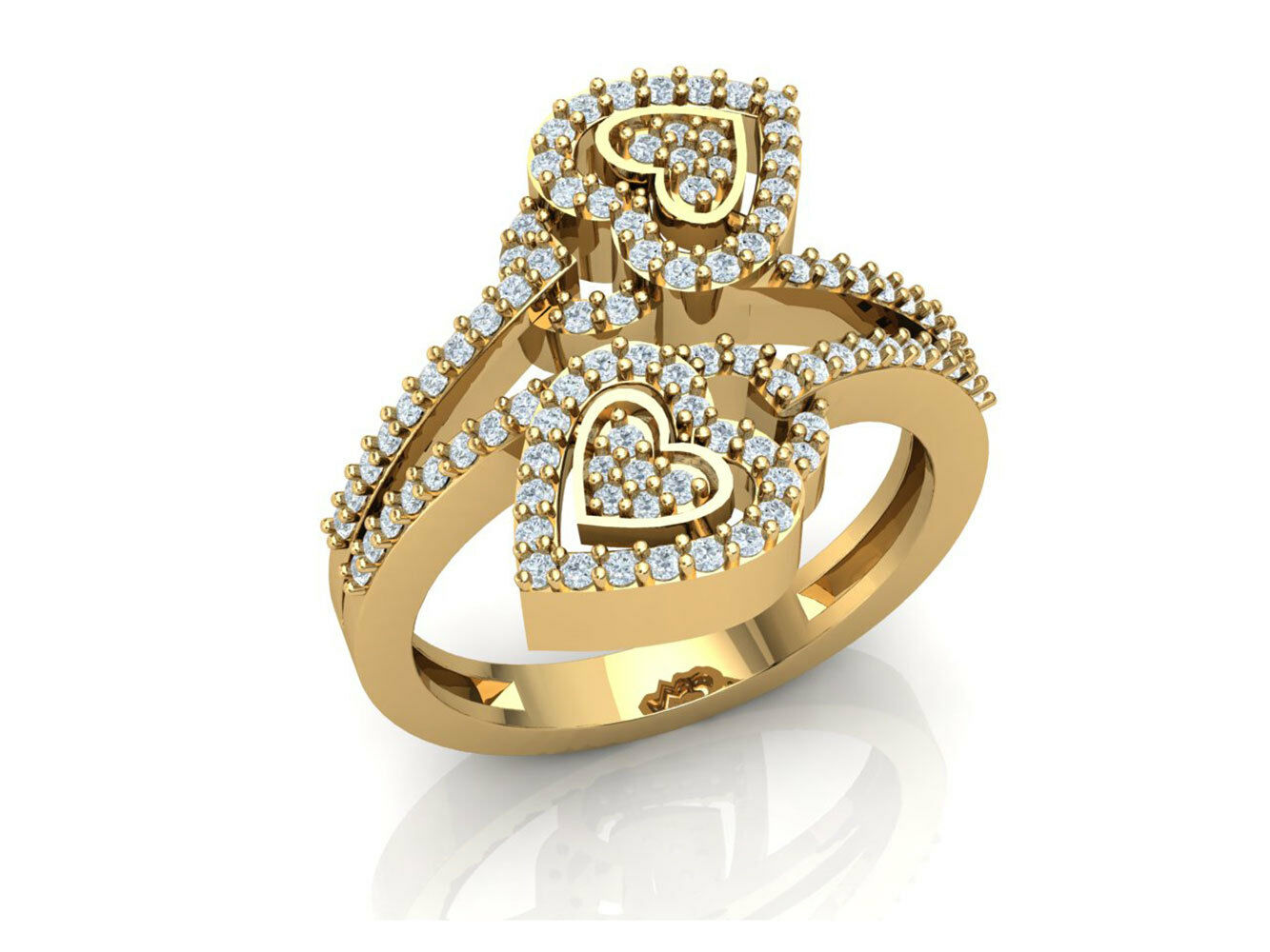0.6ctw Round Brilliant Cut Diamond Forever Us Heart Engagement Ring 14K gold