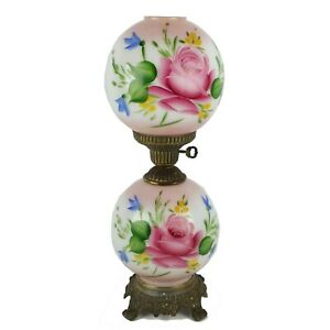 Pink-Floral-Hand-Painted-GWTW-Hurricane-Table-Lamp-Double-Globe-22-034-3-Way