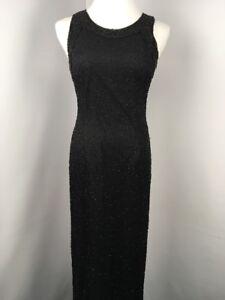 Vtg-LAURENCE-KAZAR-Black-Beaded-Sequin-Evening-Gown-Maxi-Dress-100-Silk