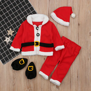 New-4pcs-Set-Red-Santa-Claus-Clothes-Baby-Girls-Boys-Christmas-Costume-Suit-Set
