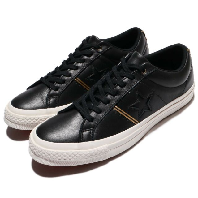 Converse One Star Leather Black Gold Classic Men Women Shoes Sneakers  159701C c911dc51f
