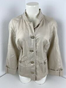 Chicos-Gold-Button-Down-Blouse-Top-Women-039-s-Sz-2-5-Large-Roll-Sleeve-Gold-Buttons