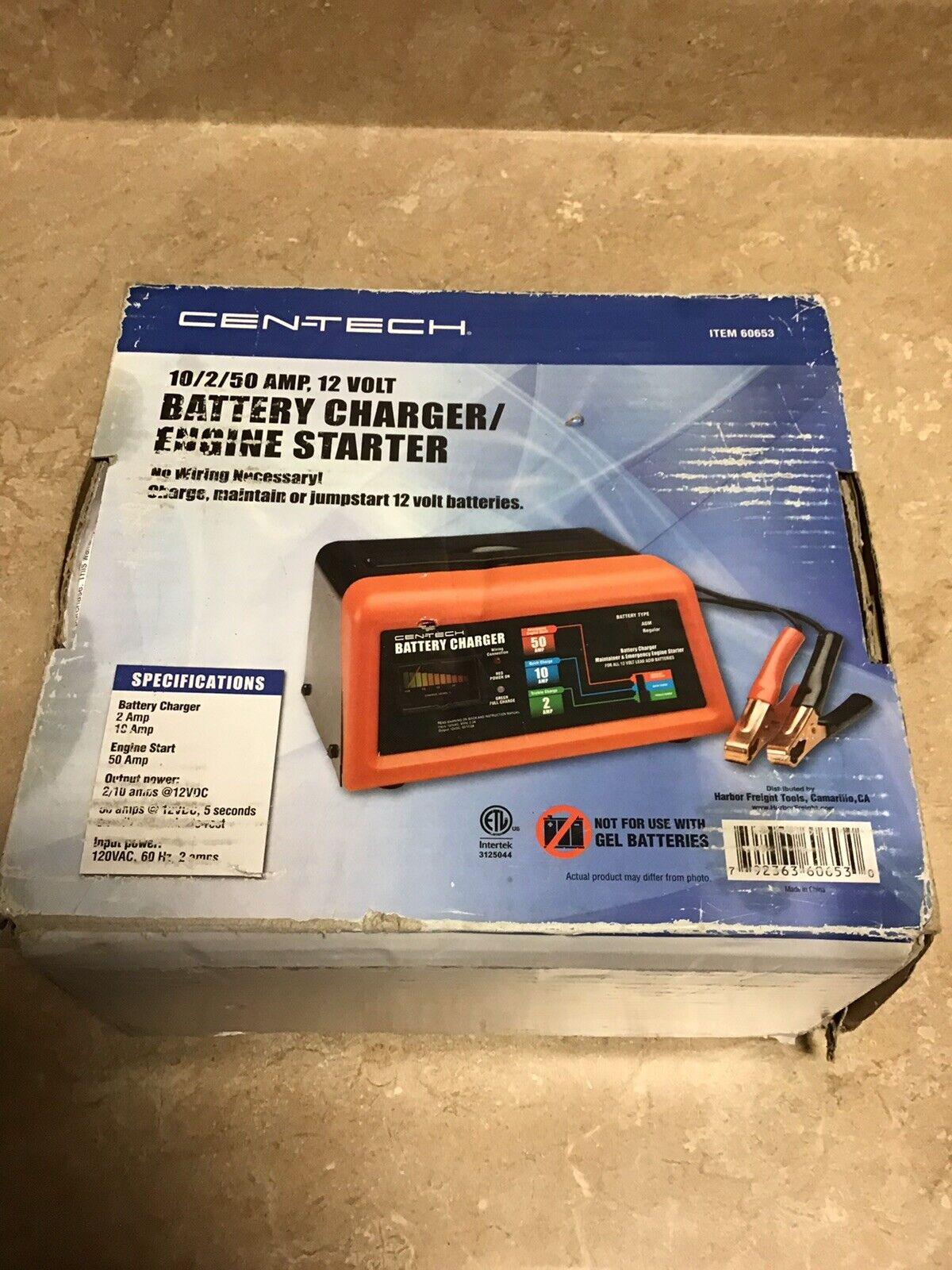 Centech 10 2 50 Amp 12 Volt Battery Charger Engine Starter 60653 Nos For Sale Online Ebay