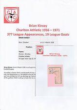 Brian Kinsey Charlton Athletic 1956-1971 Original Firmada A Mano cutting/card
