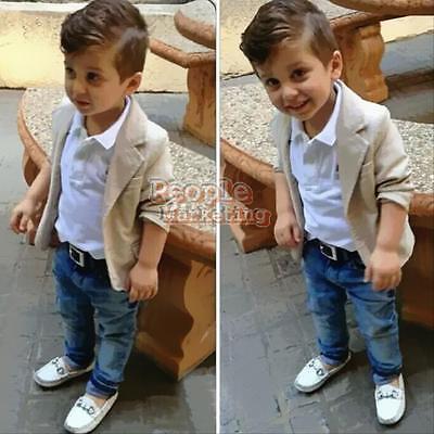 3PCS New Boys Kids Gentleman Coat+Shirt+Denim Trousers Outfits Clothes Sets 2-8T