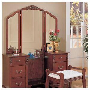 Coaster-Traditional-Wood-Makeup-Vanity-Table-Set-w-Mirror-Bedroom-Vanitie