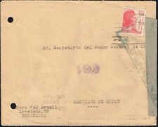 3136 SPAIN TO CHILE CIVIL WAR CENSORED COVER BARCELONA - SANTIAGO