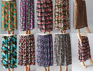 Skirts-Women-039-s-Floral-Print-Super-Stretchy-Waist-12-Colours-1Size-Fits-8-16-BNWT