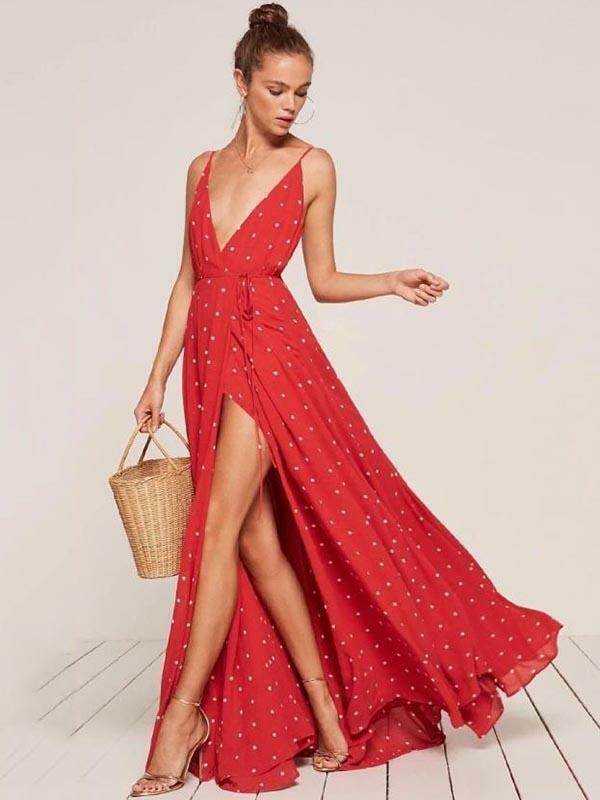 Elegante abito vestito vestito vestito morbido lungo boho bohemian spacco rosso bianco 5057 e30039