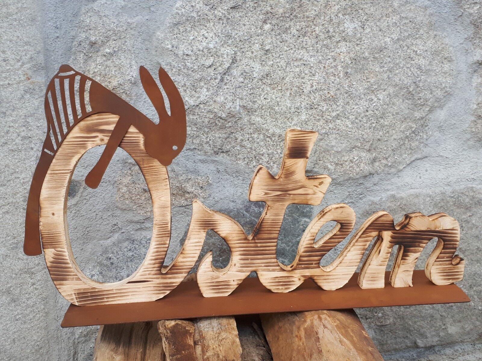 Edelrost Holz Schriftzug Ostern Dekoration Dekoration Dekoration Hase Metall Garten Terrasse af0020