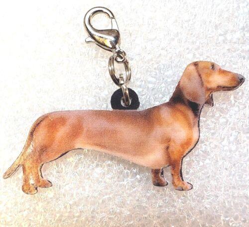 Dachshund Dog Acrylic Double-Sided Bag Purse Charm Dangle Zipper Pull Jewelry