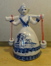 "DUTCH GIRL Ceramic FIGURINE carrying WATER -JAPAN- BRIGHT BLUES - 4.5"" T.- #F 12"