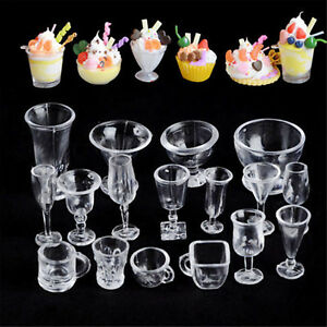 17PCS Ice-Cream Sundae Mini Cup For Dollhouse Miniatures Food Supply Groceries A