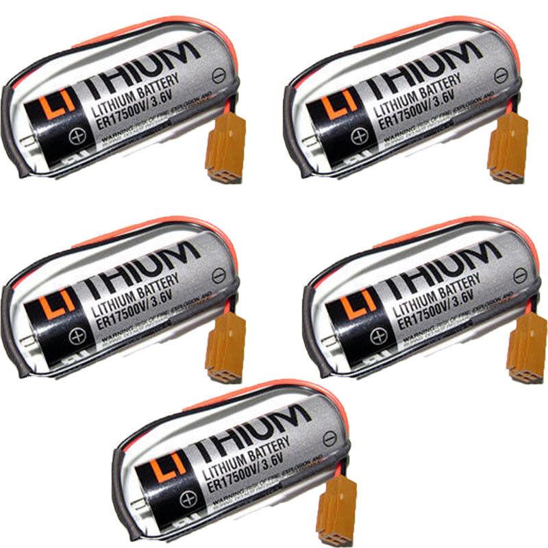 5pcs New TOSHIBA ER17500V 3.6V 2000mAh PLC Battery With Plug US Shipping