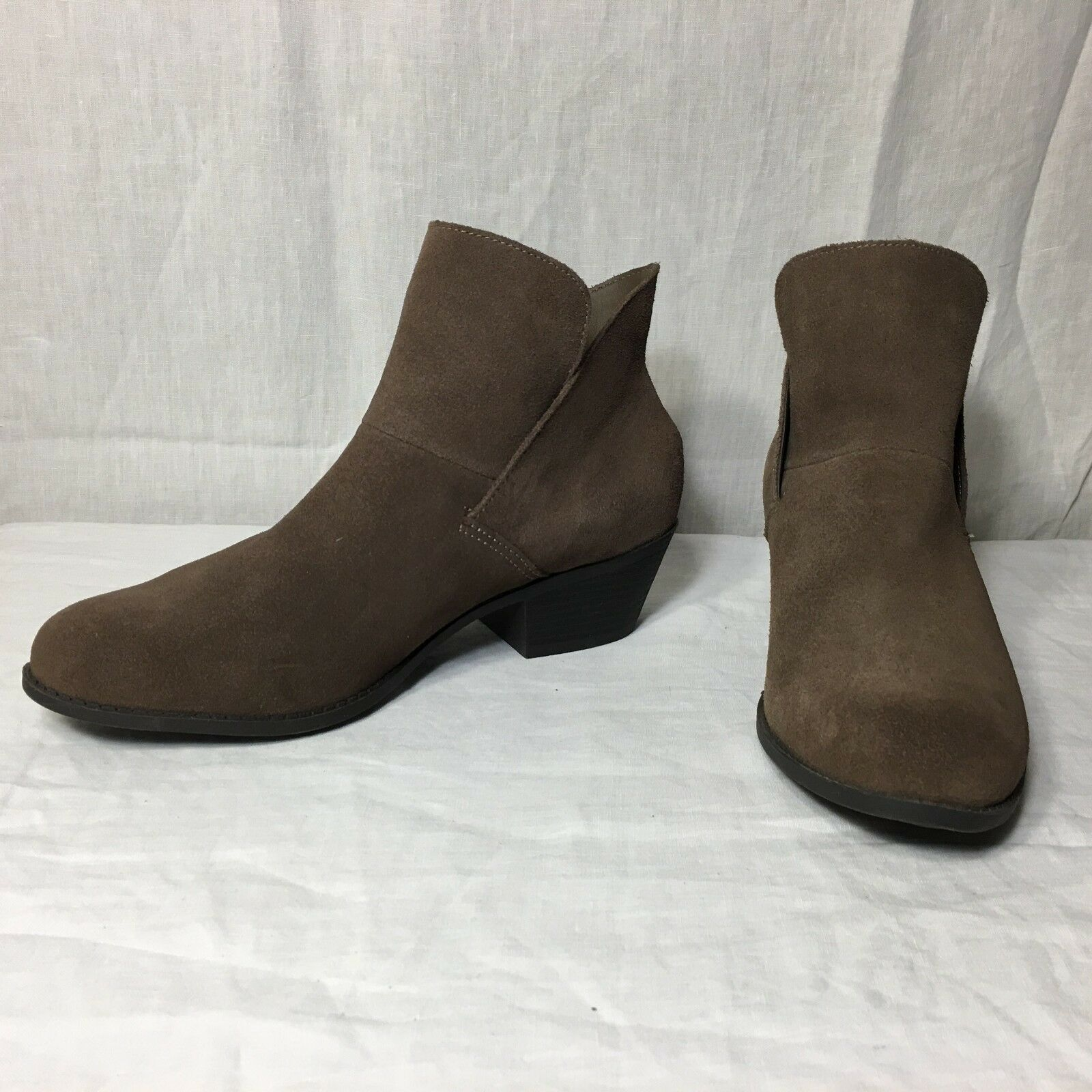 Me Too Womens 10 M Brown Leather Suede Ankle Boots Zeus High Heel shoes 2