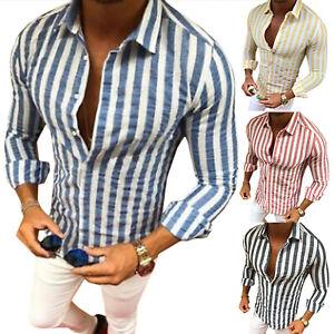 Luxury-Striped-Men-039-s-Slim-Fit-Shirt-Long-Sleeve-Dress-Shirts-Casual-Shirt-Tops