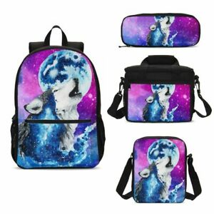 Howling-Wolf-Print-Child-School-Backpack-Lunch-Bag-Sling-Pen-Case-Kids-Gifts-Lot