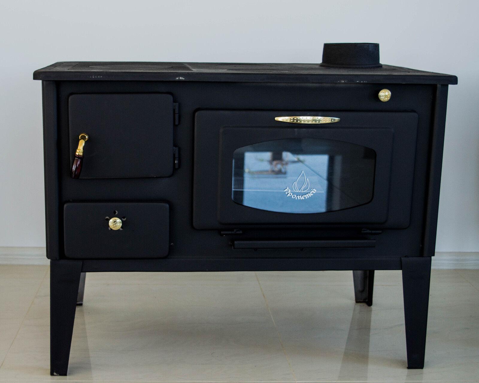 Stufa a legna cucinare stufa forno con vetro prometey 7 kw ghisa top nar tipo ebay - Cucinare con il forno a legna ...