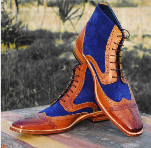 MENS HANDMADE SUEDE MIXED LEATHER SOLE AND HEEL ANKLE HIGH CASUAL BOOTS