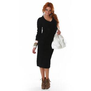 info for 4f1a4 bbcd8 Details zu Sexy Damen Strickkleid Kleid Lang Langarm V-Ausschnitt  Zopfmuster Schlauch(L380)