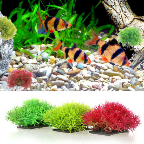 Water Grass Plant Ornament Aquarium Float Stone Fish Tank Dec Artificial Plastic