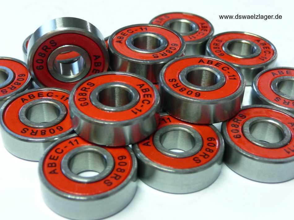 8xABEC11-Kugellager 608-2RS.ABEC11- silber/rot - ... 8x22x7mm .... NEU