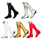 Women Kids Girls Knee High Boots Elastic Fabric Dance Party Low Heel Show Shoes