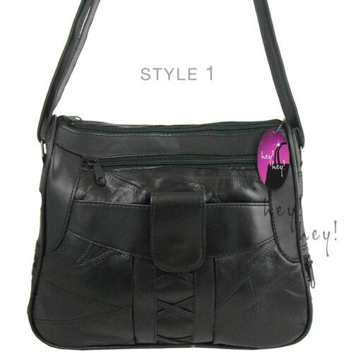 REAL Leather Handbag Shoulder Bag or Cross Body Long Shoulder Strap Compartments