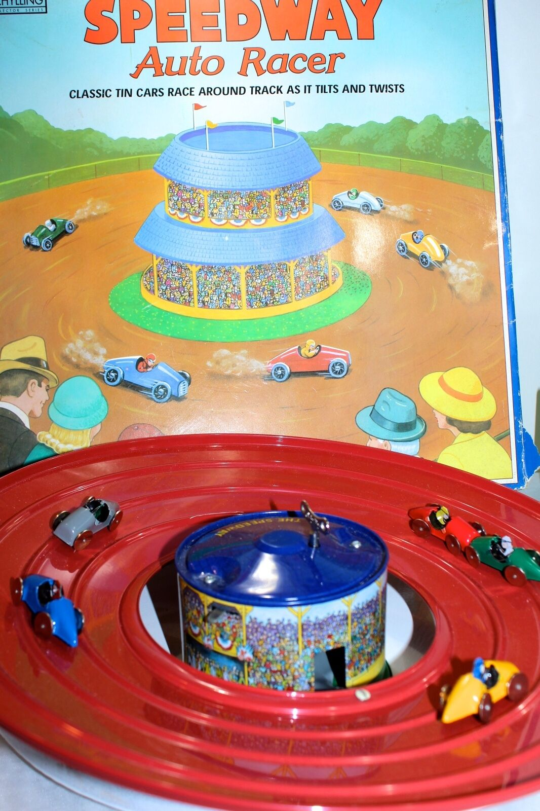Schylling Auto Racer Collector Series Speedway Speedway Speedway Tin Toy Original Box 5 cars + Key 325803
