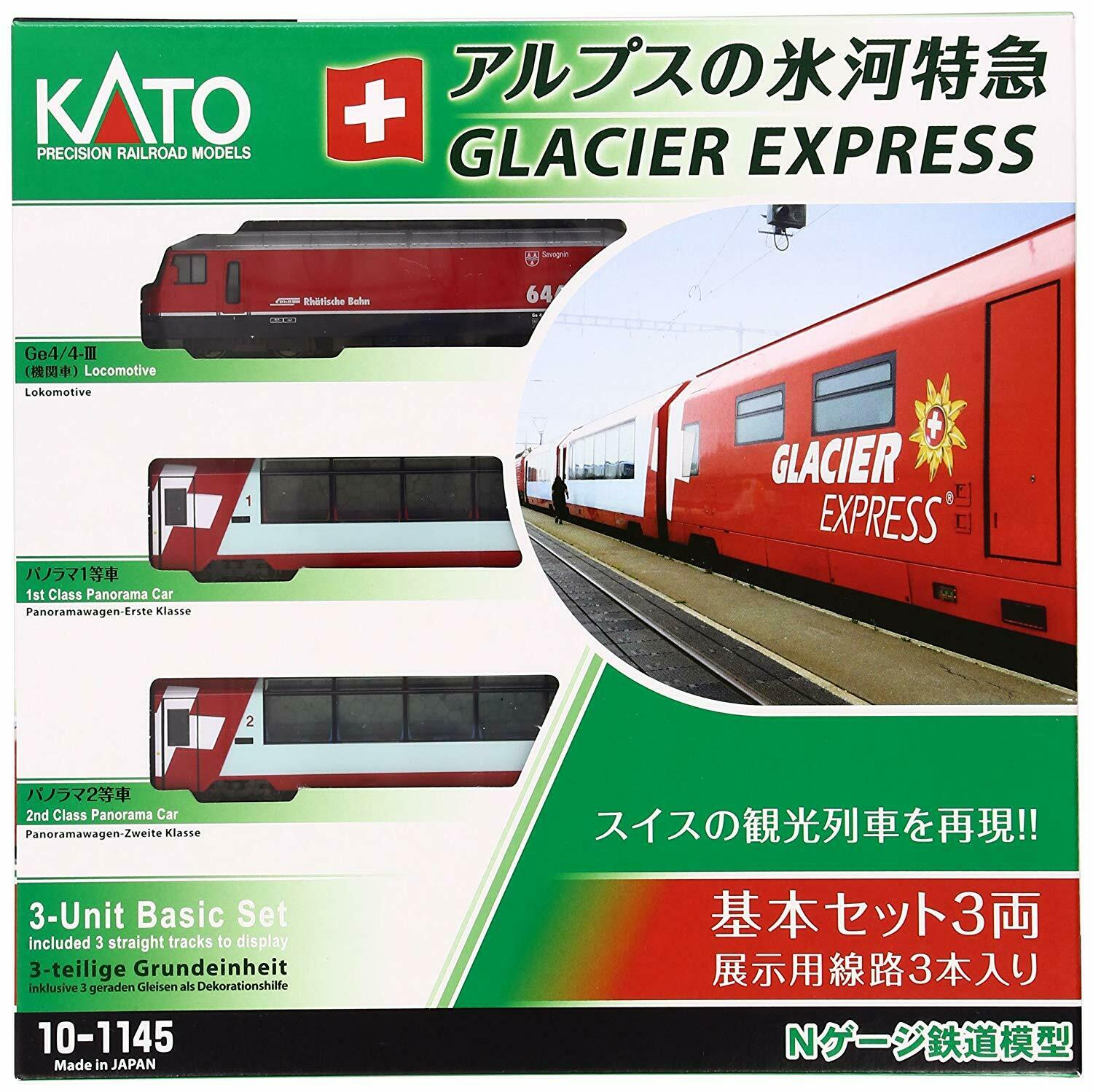 Kato Alpine Glacier Express 3 Bil Basic Set Poweröd N gauge 10 -1145