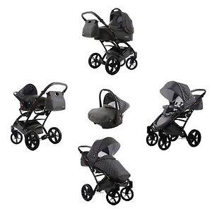 Knorr-Baby-Kombikinderwagen-Komplett-Set-3-in-1-Voletto-Tupfen-Grau-Weiss-NEU