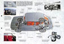 Fiat 850 Sport Spider Bertone Abarth Italie Italy 1964 Car Auto FICHE FRANCE