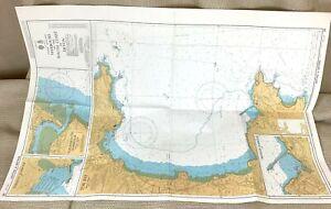 1986 Vintage Marittimo Mappa Torquay Tor Bay Pezzi, Harbour Cornovaglia