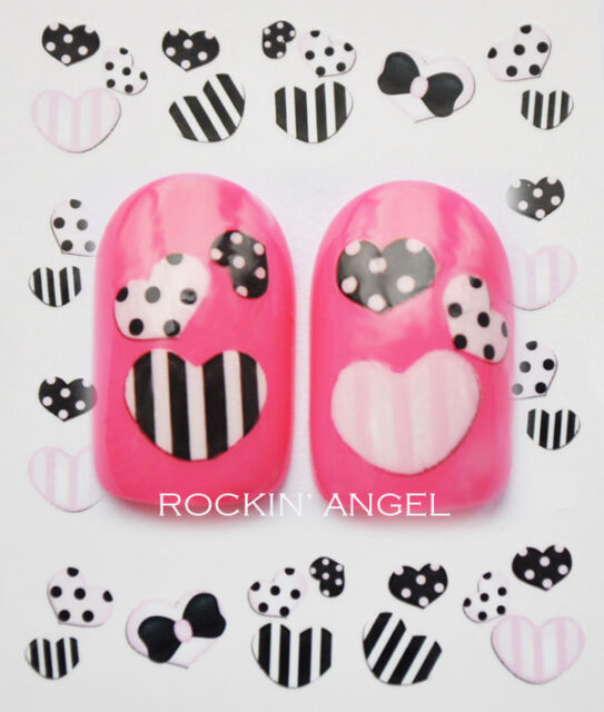 Pink & Black Hearts Nail Art Water Transfers Decals Stickers - BUY 2 GET 2 FREE