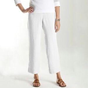 buy online enjoy big discount stable quality Details about J.JILL Women's HEAVY LINEN FULL LEG WIDE Pullon Elastic Waist  Crop/Ankle Pants S