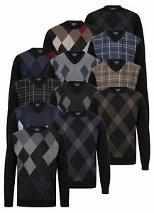 Mens-Argyle-Golf-Jumper-V-Neck-Crew-Knitted-Diamond-Pattern-Pullover-New-Casual