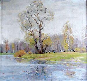painting-art-Molodchikov-socialist-realism-vintage-Autumn-landscape-old-cow-1980
