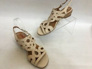 Pikolinos-Women-039-s-Beige-Cream-Color-Slingback-Wedge-Sandals-Size-EUR-40