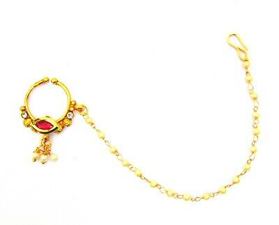 Indian Wedding Nath Gold Plated Nose Ring Chain Non Piercing New