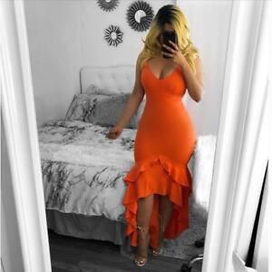 Women-039-s-Spaghetti-Strap-V-Neck-Ruffled-Bodycon-Clubwear-Cocktail-Party-Dress